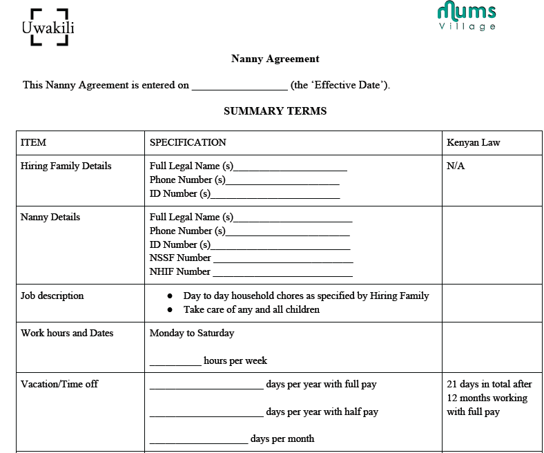 Legal Documents MumsVillage – Nanny Agreement Contract