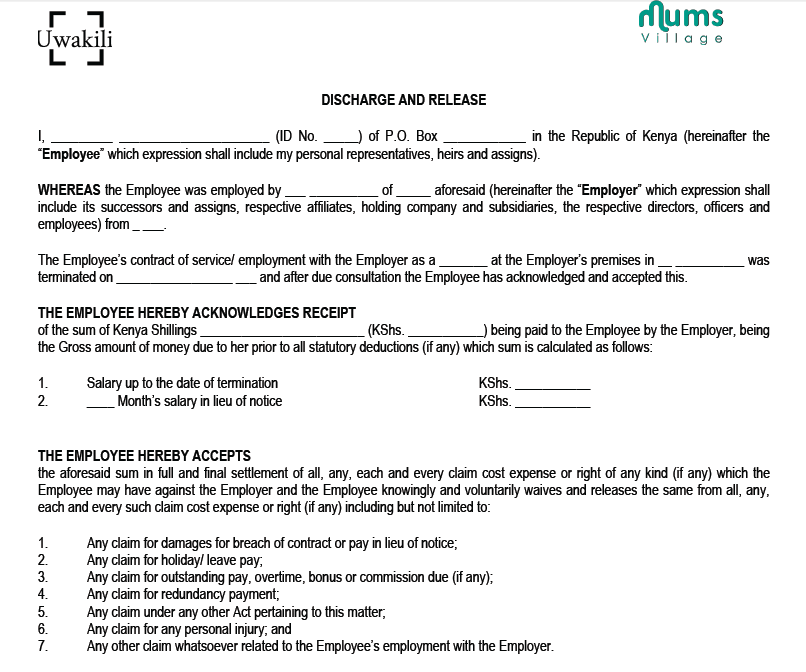 Legal Documents MumsVillage – Nanny Contract