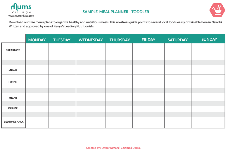 weekly menu template word