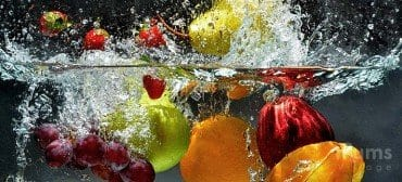 colorful fruits in water