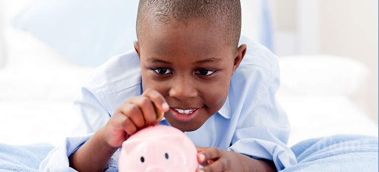 Teen, boy with piggy bank teach your children