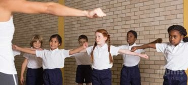 Attentive-children-exercising