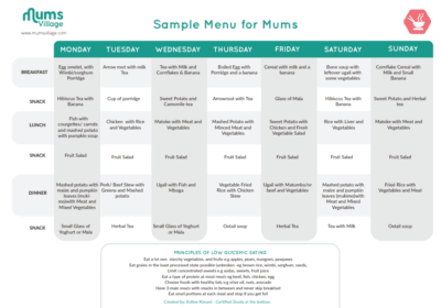 Sample Mum Menu