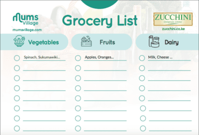 Zucchini Grocery Shopping List